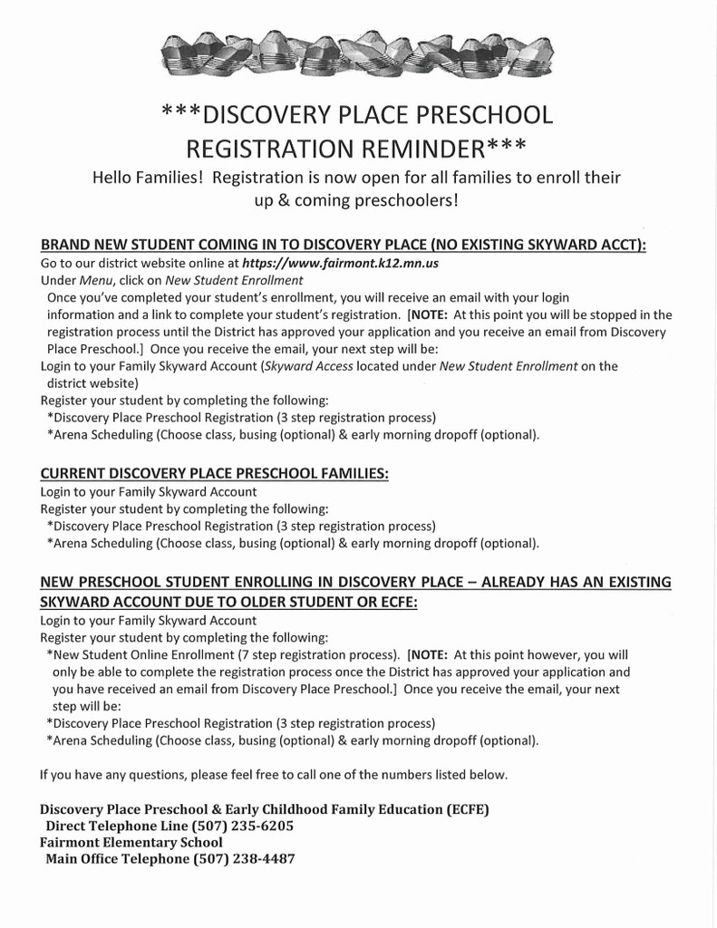 Discovery Place Preschool Registration Reminder for school year 2020/21