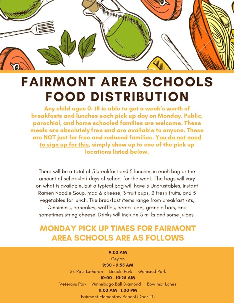Fairmont Elementary Food Distribution for Mon. 5-4-2020